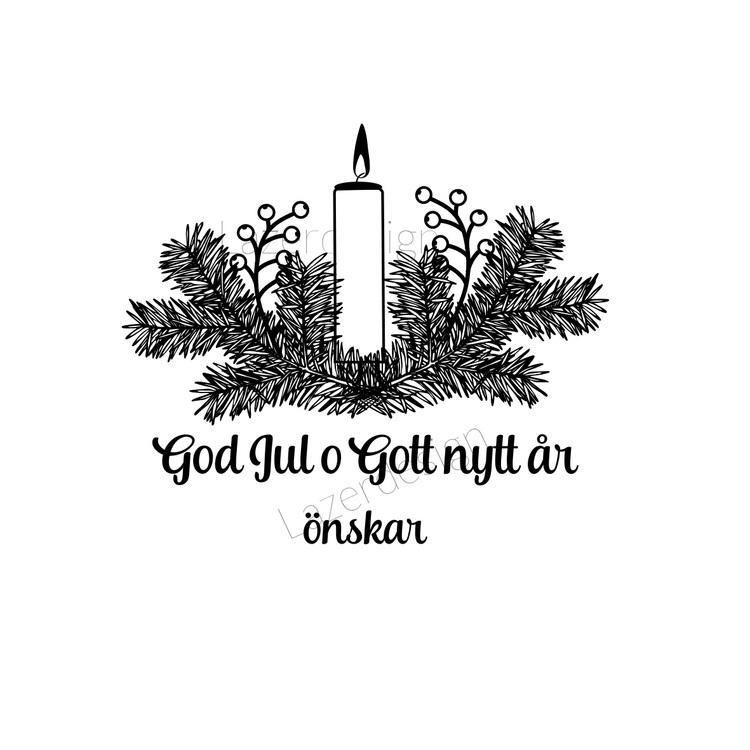 12108 - Stämpel Juldekoration med ljus o text
