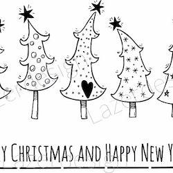 2044- Stämpel Merry christmas...Granar