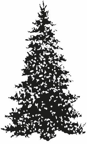 12117 -Stämpel Stor snöig gran