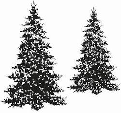 12132 -Stämpel 2 st snöiga granar