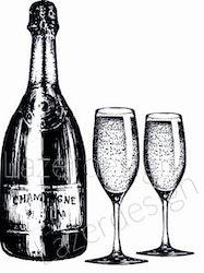 238-Stämpel Flaska o 2 glas