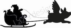 12152-stämpel Tomtesläde med grisängel