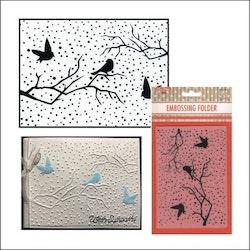 EFE027 Embossingfolder Fåglar på gren
