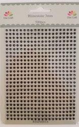 RHIN0014 Rhinestone 500 st 3 mm Svart