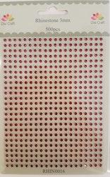 RHIN0016 Rhinestone 500 st 3 mm röd