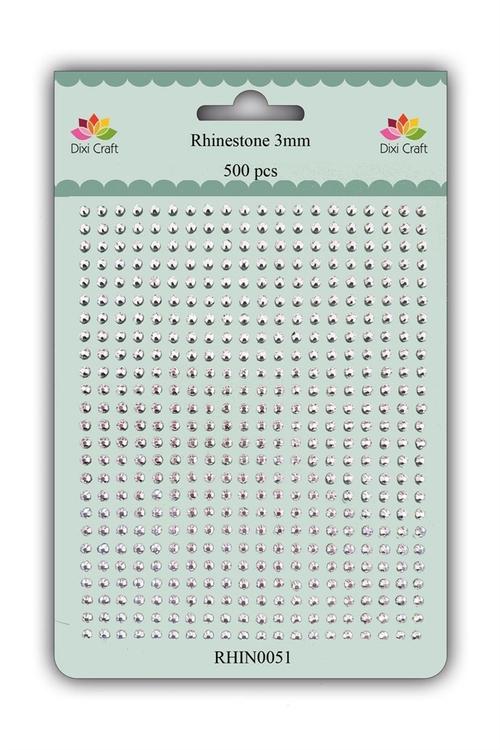 RHIN0051 Rhinestone 500 st 3 mm silver