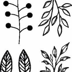 1118-Gummistämpel  4 små bladgrenar
