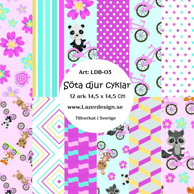 LDB-03  Pappersblock Söta djur cyklar