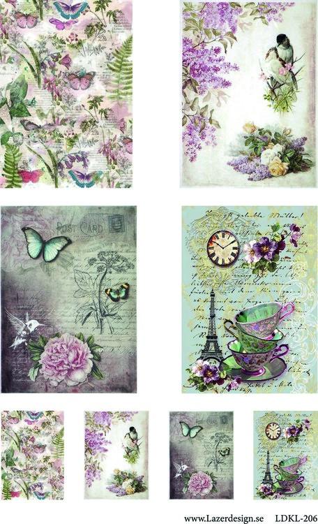 LDKL-206 Klippark  Vintage fjärilar o fåglar