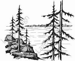 14191-Stämpel träd vid sjö