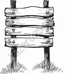 14192-Stämpel skylt i trä
