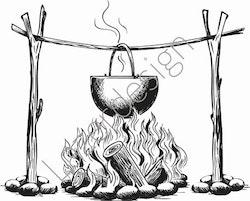 14183-Stämpel kokande gryta