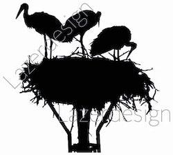 14201-Stämpel Storken har kommit