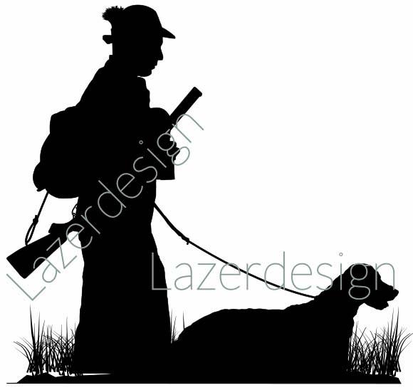 14203-Stämpel jägare med hund