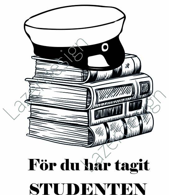 678-Stämpel Studentmössa på böcker