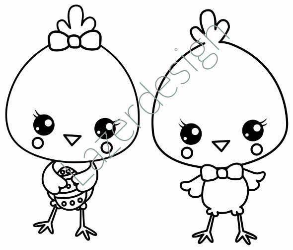 1668-Stämpel 2 söta kycklingar