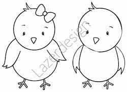 1669-Stämpel 2 söta kycklingar