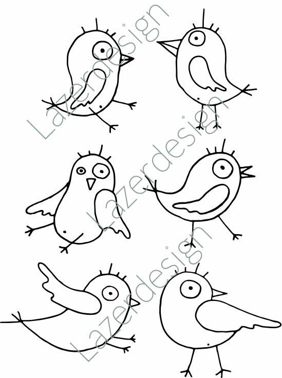 1688-Stämpel 6 roliga fåglar