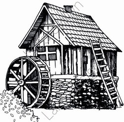 14210-Stämpel Hus med vattenkvarn