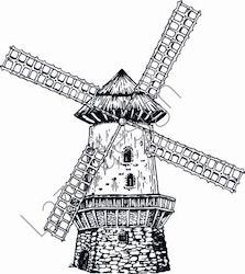 14205-Stämpel Väderkvarn