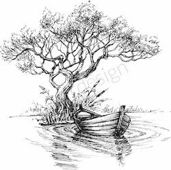 14235-Stämpel Träd med en båt