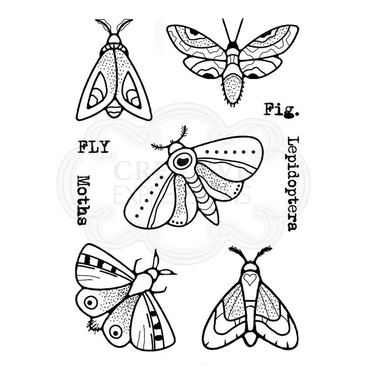 FRS809-Woodware Clearstamp Moths