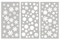 32133 - Stencil Lazerdesign Blommor o cirklar 3 delar