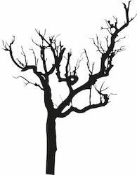 1545-Gummistämpel Naket träd