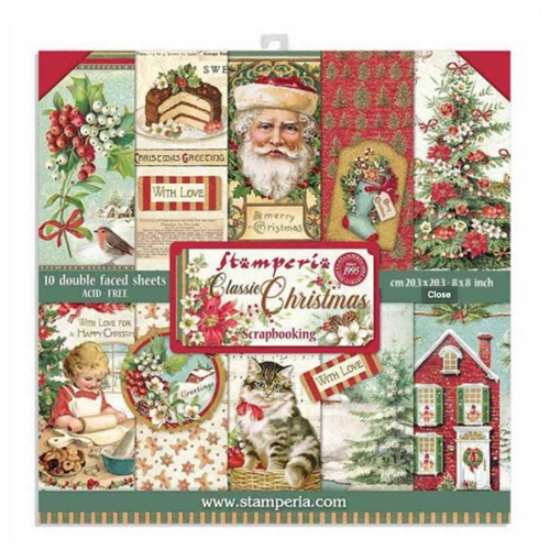 SBBS17- Stamperia Classic Christmas Paper pad 8x8