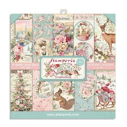 SBBS16- Stamperia Pink Christmas Paper pad 8x8