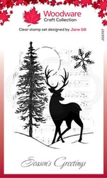 JGS727 Woodware Clearstamp Musical Deer