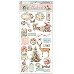 DFLCB06Stamperia Pink Christmas Chipboard