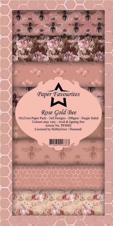 PFS002 Mönsterpapper slimcard 24 st Rose Gold Bee