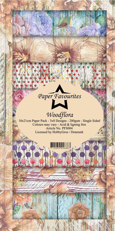 PFS004 Mönsterpapper slimcard Wood Flora