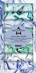 PFS006 Mönsterpapper slimcard Grön-Blå Marmor