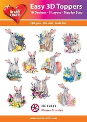 HC1241013-D Toppers flower Bunnies