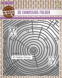 EF3D022Embossingfolder Wood Growth Rings