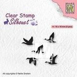 SIL081Clearstamp Flying Birds