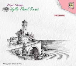 IFS037Clearstamp  Sea with lighthouse