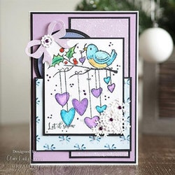 FRS868 Woodware Clearstamp Hanging Hearts