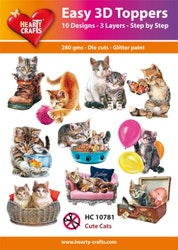 HC10781 3-D Toppers Cute cats