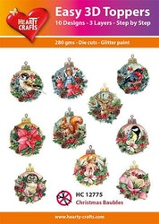HC12775  3-D Toppers Christmas Baubles