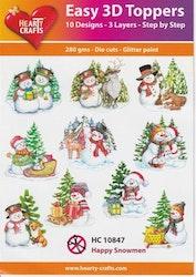 HC10847  3-D Toppers happy Snowmen