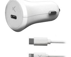 Billaddare USB KSIX MFI 18W Vit
