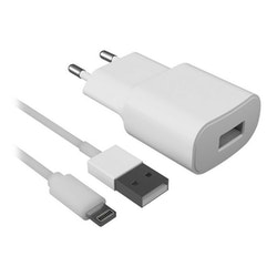 Väggladdare + lightning MIFI-kabel Contact 2.1A Vit