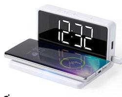 Väckarklocka med trådlös laddare Vit 146512