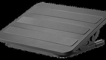 DELTACO OFFICE Ergonomiskt fotstöd i stål, tilta +20°~-20°, svart