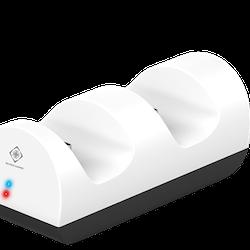 DELTACO GAMING laddningsstation för dubbla playstation 5 kontroller, LED indikator, vit