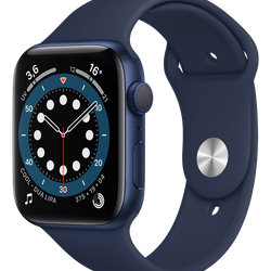 Apple Watch Series 6 (GPS) - 44 mm - blå aluminium - smart klocka med sportband - fluoroelastomer - djup marin - band size: S/M/L - 32 GB - Wi-Fi, Bluetooth - 36.5 g