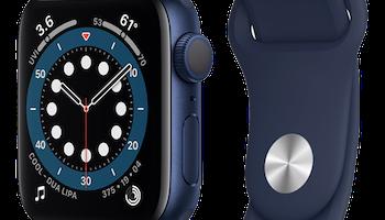 Apple Watch Series 6 (GPS) - 40 mm - blå aluminium - smart klocka med sportband - fluoroelastomer - djup marin - band size: S/M/L - 32 GB - Wi-Fi, Bluetooth - 30.5 g